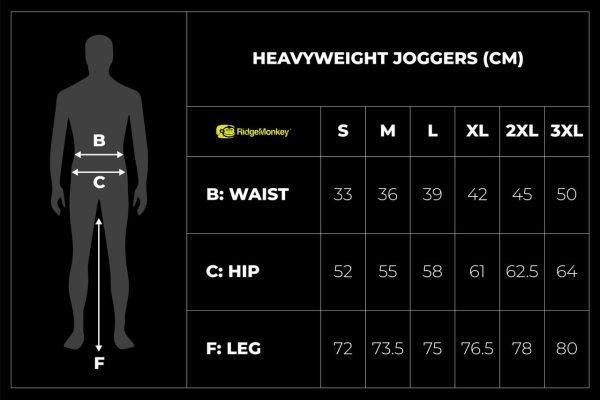 RidgeMonkey APEarel Heavyweight Joggers size guide