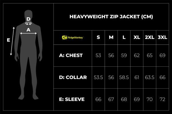 RidgeMonkey APEarel Heavyweight Zip Jacket size guide