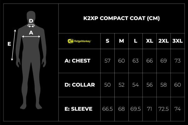 RidgeMonkey APEarel K2XP Compact Coat size guide